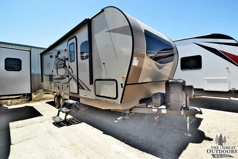 The Great Outdoors RV Co. R1386 2019 Forest River Rockwood Mini Lite 2504S- Front passengers side exterior