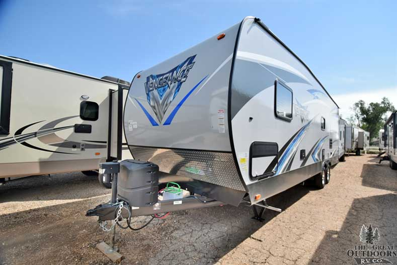 The Great Outdoors RV 2018-Forest-River-Vengeance-26FB13 Front drivers side exterior