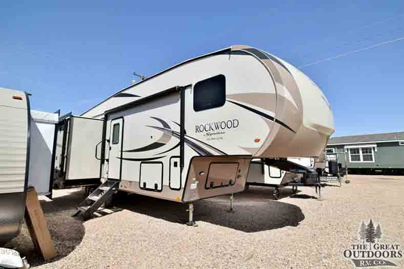 The Great Outdoors RV Co. R1322 2019 Forest River Rockwood 8295WS- Front passengers side exterior w/slide out