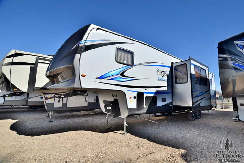 The Great Outdoors RV 2018-Forest-River-Vengeance-311A13-V150 Front drivers side exterior w/slide out