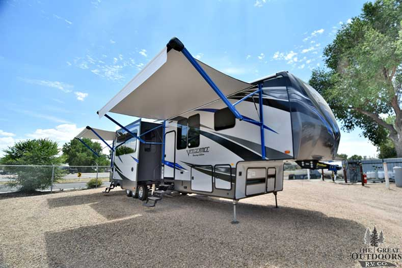 The Great Outdoors RV 2018-Forest-River-Vengeance-Toy-Hauler-38L1311 Front passengers side exterior w/awning out